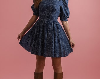 Vintage Navy Blue Polka Dot Mini Dress (Size Small)