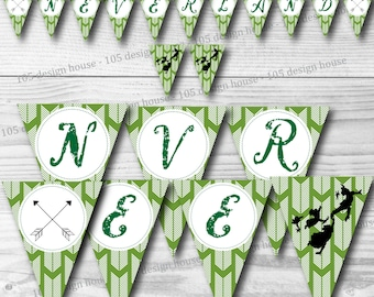 "Neverland Banner INSTANT DOWNLOAD- Printable Peter Pan Inspired ""Neverland"" Banner - Peter Pan Party - Neverland Party"