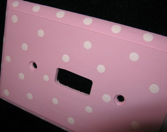 Pink POLKA DOTS Single Light Switch Plate Cover