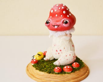 SALE! Art Doll MushroomHed, Fantasy Creature, Whimsical Art Doll, Mushroom, Decor, Fairy, Garden, Aamanita, Red Mushroom