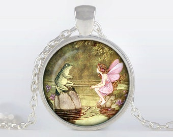 Fairy pendant Fairy Necklace Fairy Jewelry, Silver plated pendant, pink, brown