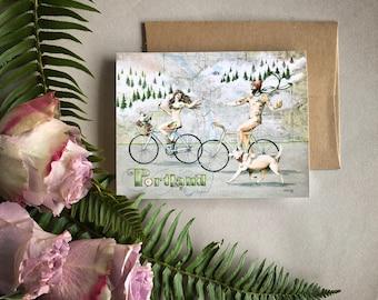 Portland Naked Bike Ride Card, Portland greeting card, Portland bike art card, Portland tattoos, Portland Oregon illustration naked bikeride