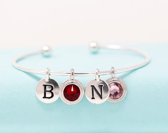Personalized Sterling Silver Birthstone Initial Bangle Bracelet