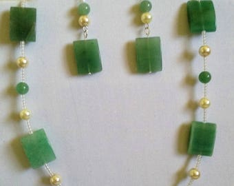 Green Aventurine, Necklace, Earrings, Seed Beads, Ivory, Lobster Clasp, Rectangle, Under 25.00