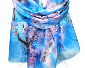 Hand Painted Scarf. Silk Scarf. Blue Romantic Woman Silk Shawl. Anniversary Gift. Genuine Art. Unique Handmade. 18x71in. MADE to ORDER