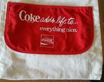 Vintage 1970's Coca Cola canvas advertising tote bag, Coke Adds Life to...Everything Nice.
