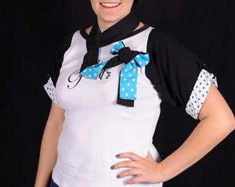 Bow tie black and blue polka dots