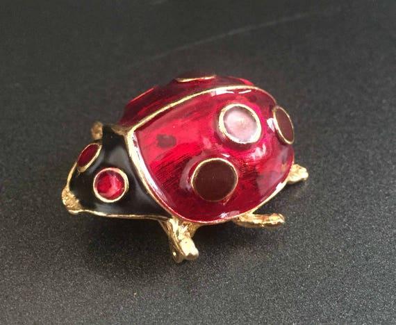Red Enamel Ladybug Brooch (Silver Tone)