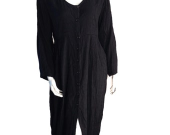 Bila Muted Black Buttondown Maxi Dress - Size Medium
