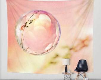Bubble Wall Tapestry, Nature Wall Art, Pink Raspberry Sky Large Tapestry, Fine Art, Garden, Grass, Dorm, Modern Decor, Whimsical, Dreamy