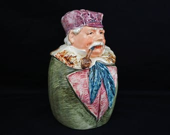 "Austrian Majolica 8"" Figural Man Smoking Pipe Humidor Tobacco Jar 7454 27 Tobacciana Large"