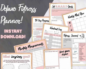SALE! Printable Deluxe Fitness Planner - BOTH Color and Black & White Options included + FREE eBook With Purchase! Instant Download!