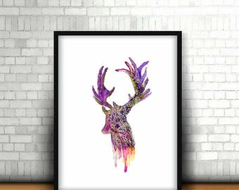 DEER FLORAL Fantasy- Art PRINT- watercolor deer painting, deer wall art,, handmade  printable wall art,painting Home decor, digital download