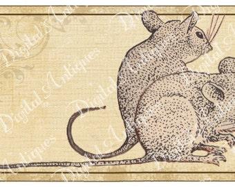 Vintage Mice Printable  Tags  Digital Download