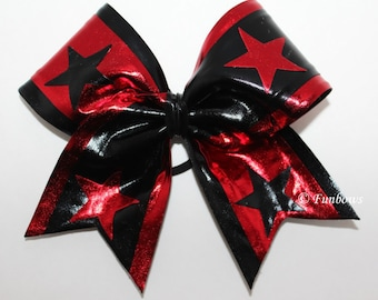 Metallic Cheerleading bow customized your colors 4 stars by Funbows