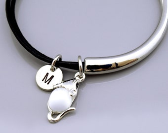 Mouse bangle, Mouse charm bracelet, Mouse charm jewelry, Silver mouse charm, Glowing mouse, Leather bracelet, Leather bangle