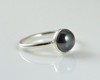 Ring in Argentium Silver - Gemstone Ring - Gift for Her - Statement Ring - Boho Ring 2ct Black Onyx Gemstone Stackable Ring