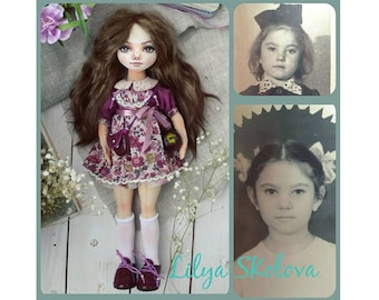 Textile doll gift for grandmother текстильная кукла interior doll fabric doll portrait doll cloth doll personalized doll portrait doll