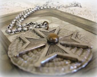 rockin' in the free world vintage hammered aluminum maltese cross necklace oversized rock star pendant