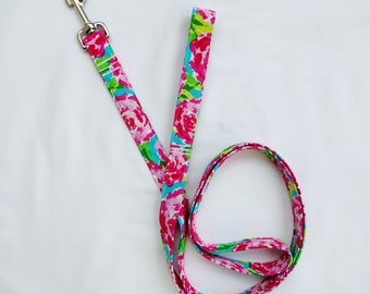 Hot Pink Floral-Lime Green Floral-Traffic Leash-Dog Leash- Cottage Rose-Bright  Floral 3, 4, 5, 6 Foot Leash