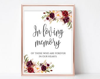 Printable In Loving Memory Sign In Loving Memory Wedding Sign Wedding Day Signs Memorial Table Sign for Wedding Signage DIY 4x6, 5x7, 8x10