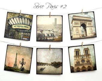 Set of six postcards 14x14cm - series Paris 02