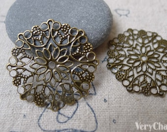 Filigree Flower Embellishments Antique Bronze Round Snowflake Stampings  35mm Set of 20 A7254