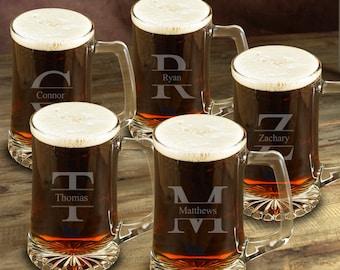 Personalized Beer Mug Set of 5 for Groomsmen - Engraved 25 oz. Sports Mug Set of 5 - Wedding Party Gifts - GC1405 STAMPED