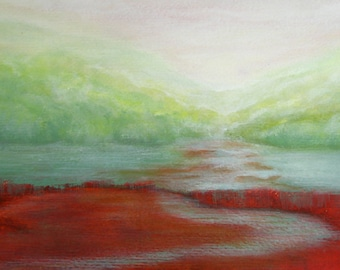 Red Green Landscape Painting Original Art Nature Acrylic Painting On Paper Red Green Painting Green Forest River At Distance 15x8""
