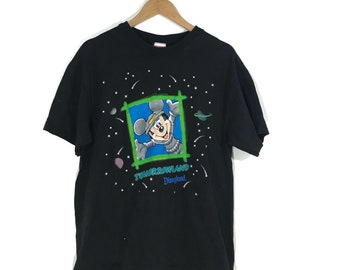 Vintage 90s Mickey Mouse Tomorrowland T Shirt size large disneyland