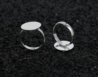 2 cabochon 14 mm silver metal rings