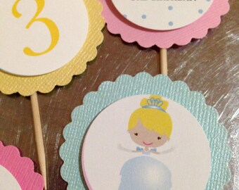 Princess Inspired Party Circles or Cupcake Toppers - HANDMADE