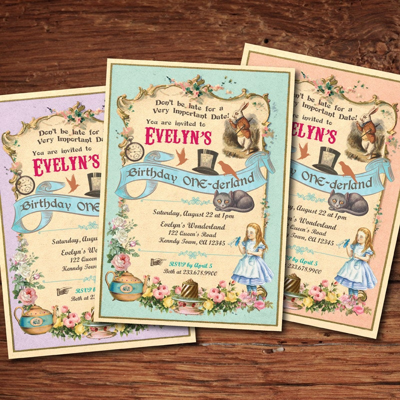 Mad hatter tea party. Alice in wonderland birthday invitation.
