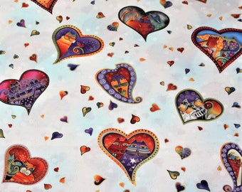 Laurel Burch Rare Oop FABULOUS FELINES Hearts on White Fabric - By the Half Yard