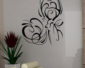 Vinyl Wall Decal Sticker Deer Swirls 5319m