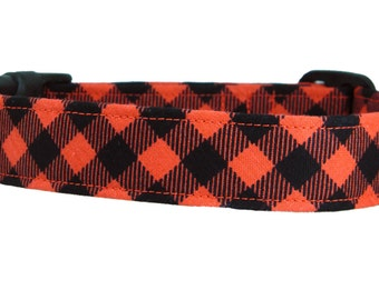 Red and Black Plaid Dog Collar: Buffalo Plaid