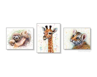 Safari Nursery Art Print Set Baby Animals Watercolor Wall Art Nursery Decor Animal Watercolor Set of 3 Prints, Sloth Giraffe Tiger Cub