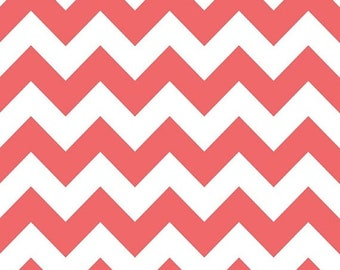 Spring Cleaning Riley Blake Fabric - 1 Yard of Medium Chevron in Rouge