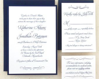 Elegant Traditional Wedding Invitations with Free website card, envelope addressing availalbe