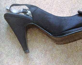 Next Slingbacks H/H Black Peeptoe Shoes size 4 uk 37 euro