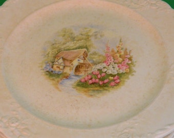 """Taylor Smith Taylor. Mill House and Flowers. Set of 6 9"""" Salad Plates."""
