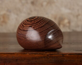 Wooden Hedgehog Sculpture Hand Carved From Dark Wenge Wood by Perry Lancaster, Small Tactile Carving