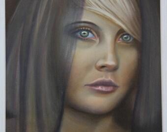 Original Oil Framed Veiled woman Portrait painting