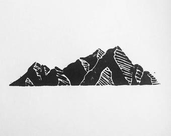 Original Mountain Woodblock Print