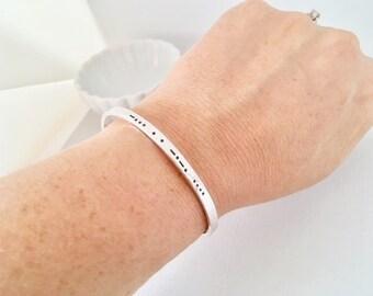 Custom cuff bracelet, secret message, morse code,  sterling silver • MC24mm