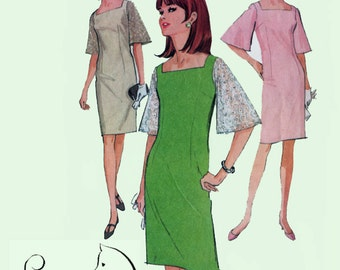 Vintage 60s MOD Wiggle Dress with Bell Sleeves Sewing Pattern McCalls 8307 1960s Sewing Pattern Size 12 Bust 32