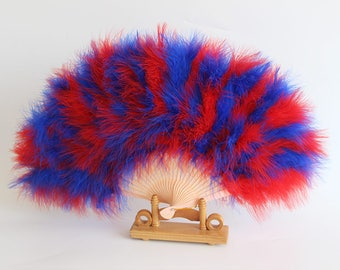 50*30cm Red and Blue Mix ,Purple,Blue,Turkey Feather Fans Burlesque Dance