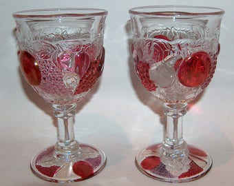 8165: Vintage Westmoreland Della Robbia SET 2 Water Globets Footed Stem Tumblers Elegant Depression Glass at Vintageway Furniture