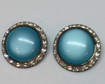 Lisner Aqua and Rhinestone Clip on Earrings / Estate Jewelry