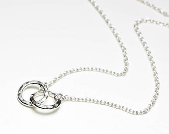 Double circle necklace silver, silver eternity necklace, interlocking circles, entwined rings, double hoops, linked rings, karma, infinity